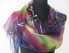 Chiffon OOAK. Abstract Multicolor Hand Painted Chiffon Scarf for Ladies. Contemporary Design Red, Green, Purpur Chiffon  https://www.etsy.com/listing/279683572/chiffon-ooak-abstract-multicolor-hand?ref=shop_home_active_1