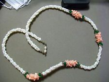 Twisted Fresh Water Pearl, Coral Chip, and Jade Bead Necklace