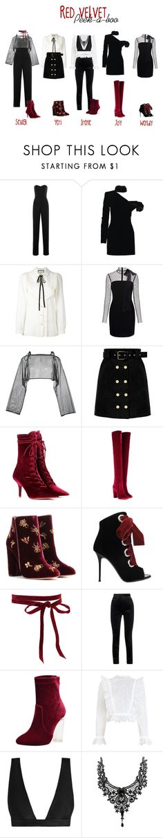 """Red Velvet // Peek a boo"" by karanova ❤ liked on Polyvore featuring Saloni, Yves Saint Laurent, Gucci, RED Valentino, demoo parkchoonmoo, Yeezy by Kanye West, Aquazzura, Giuseppe Zanotti, Haider Ackermann and Zimmermann"