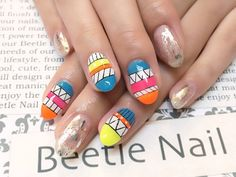 Nail Art - Beetle Nail : 八幡|ボヘミアン柄