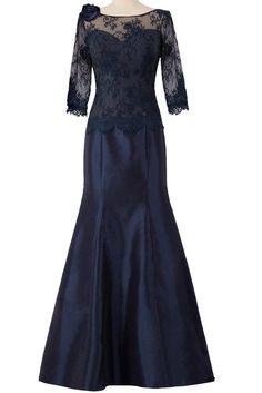 ORIENT BRIDE Women Lace 3/4-Length Sleeve Mermaid Mother of the Bride Dress Size 4 US Navy Blue