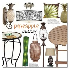 Pineapple decor by mada-malureanu on Polyvore featuring interior, interiors, interior design, home, home decor, interior decorating, Giclee Gallery, Universal Lighting and Decor, Kenroy Home and Hinkley Lighting