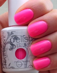 Harmony Gelish First gel polish to be packed in a bottle, with a brush as a quick and easy gel application process. You can find more than 100 colors and sold in over 80 countries worlwide. Harmony Gelish products do not damage the natural na Barbie Pink Nails, Neon Pink Nails, Cute Pink Nails, Hot Nails, Pretty Nails, Gelish Nail Colours, Pink Nail Colors, Gelish Nails, Nail Polish Colors