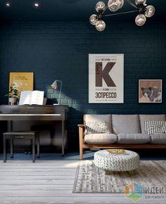 Дизайн-проект в таунхаусе, интерьер кабинета, отделка стены кирпичики