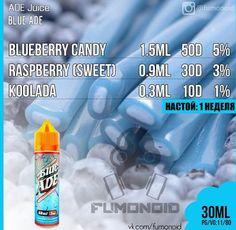 ADE Juice (Blue ADE) - сладкая, но терпкая, с гладким черничным вкусом, жидкость, идеально подходящая для любого случая