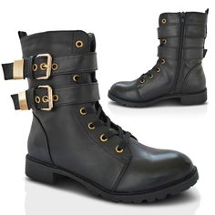 Womens Ladies Military Combat Boots