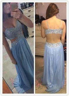 blue Prom Dresses,long prom dress,open back prom Dress,charming prom dress,sexy prom dress,BD2975