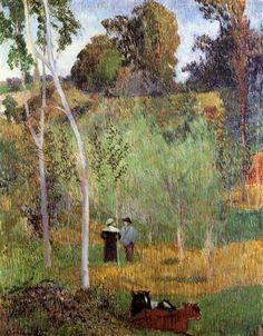 Sheperd and sheperdess in a meadow - Paul Gauguin 1888