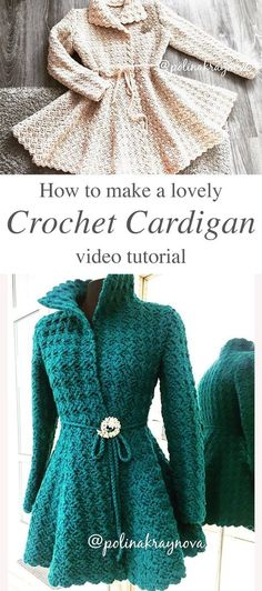 Lovely Crochet Cardigan Anyone Can Make In this free video tutorial, you will learn how to make the Princess Crochet Cardigan. Crocheting this charming cardigan will be simple and enchanting! Cardigan Au Crochet, Crochet Coat, Crochet Clothes, Crochet Dresses, Crochet Sweaters, Crochet Jacket Pattern, Crochet Top Patterns, Crochet Cardigan Pattern Free Women, Crochet Pattern Free