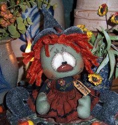 "Primitive Halloween Witch Raggedy Ann 5"" Annie Doll ★ Vtg Patti's Ratties Bear"