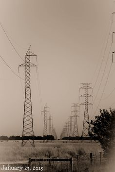 """23:365 These electricity towers just outside of Tarpeena have always caught my eye... so straight and cutting a path through the paddocks... They are perfectly aligned!    FMS prompt """"electricity"""""""
