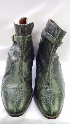 Vintage Miramare, Italia.Lizard Skin Ankle Boots  Bottle Green Size 6.5,  EU 40