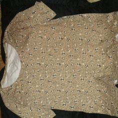 White stag shirt Beige with flower design Tops Blouses