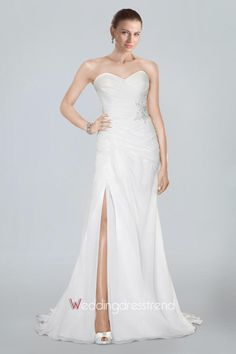 Fashionable Strapless Chiffon Column Bridal Dress Featuring Beaded Motifs and Slit