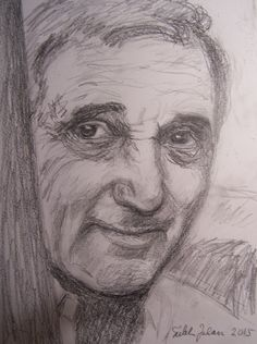 Charles Aznavour, pencil by Sirkka Jalava