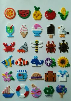 Different shapes perler beads - Diy and crafts interests Easy Perler Bead Patterns, Melty Bead Patterns, Perler Bead Templates, Diy Perler Beads, Perler Bead Art, Beading Patterns, Loom Patterns, Melty Beads Ideas, Embroidery Patterns