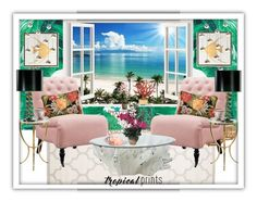 """""""Tropical Prints Home"""" by easy-dressing ❤ liked on Polyvore featuring interior, interiors, interior design, home, home decor, interior decorating, Safavieh, Dolce&Gabbana, Grandin Road and Home Decorators Collection"""