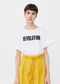 Ruffled message t-shirt. Revolution statement t-shirt in black and white.