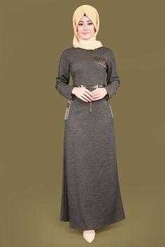 ** EN YENİLER ** Simli Tesettür Elbise Füme Ürün kodu: MZ9213 --> 109.90 TL