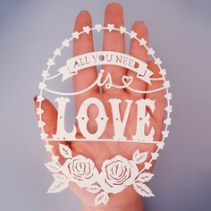All You Need is Love Original Papercut Illustration - handcut paper art by SarahTrumbauer on Etsy.