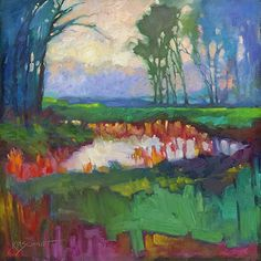 Just Landscape Animal Floral Garden Still Life Paintings by Louisiana Artist Karen Mathison Schmidt: Mist Slowly Rising contemporary impressionist oil painting of a Louisiana bayou landscape • abstract colorist foggy landscape illustration by Louisiana landscape artist KMSchmidt