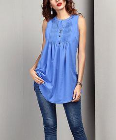 bc5f17edb148 Love this Blue Chiffon Sleeveless Notch Neck Pin Tuck Tunic - Women on   zulily!