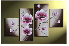 100% Hand-painted Oil Wall Art Warm Day Purple Flowers Bloom Home Decoration Abstract Floral Oil Painting on Canvas 4pcs/set  $62