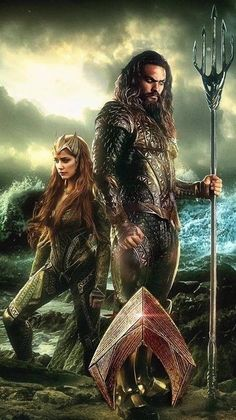 Jason Momoa and Amber Heard as Aquaman and Queen Mera.