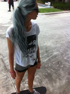 dark blue and grey/ platinum blonde hair ponytail wavy