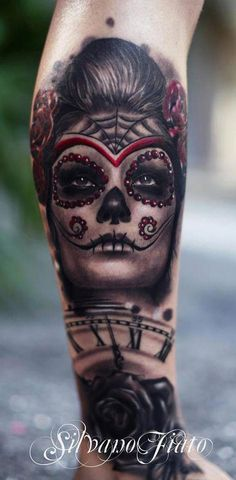 Sugar skull tattoo by Silvano Fiato Sugar Skull Tattoos, Leg Tattoos, Sleeve Tattoos, Cool Tattoos, Tatoos, Amazing Tattoos, Sugar Skulls, Design Tattoo, Best Tattoo Designs