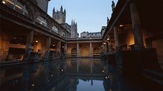 Night falls on the Roman BathsBath, Somerset This is one of the finest examples of a Roman bathing complex in Europe. The pool fills with hot spa water, percolated through limestone rocks.