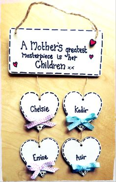 FAMILY plaque/ sign / £5.50 plus £2.50 for each heart / names / children / wooden / grandchildren / keepsake / mothers day gift/ present / birthday / love www.facebook.com/cosycottagesomerset