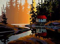 Michael O'Toole. Акриловая живопись. Cabin at Canoe Lake. Акрил. 12х16 дюймов
