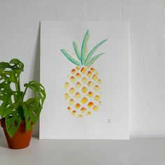 Summer vibes watercolor Fruit, Decoration, Summer Vibes, Pineapple, Watercolor, Illustration, Envelope Punch Board, Water Colors, Dekoration