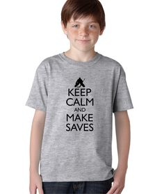 Keep Calm and Make Saves TShirt for Kids by Hot4TShirts on Etsy, $14.00 #hockey #goalie
