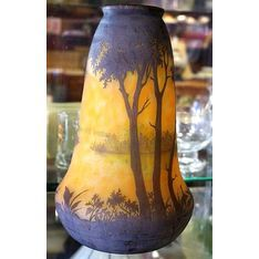 Large ~ French ~ Daum Nancy ~ cameo glass vase ~ acid etched.