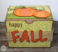 Hello everyone! Tanya here today to share a sweet fall gift idea with you. Fall has to be my favorite season of the year and I love c. Kraft Boxes, Fall Gifts, We R Memory Keepers, Seasons Of The Year, Fall Cards, Treat Bags, Happy Fall, Hello Everyone, Stickers