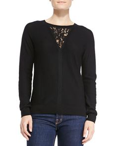 Wool Knit Pullover w/Lace Inset at CUSP.