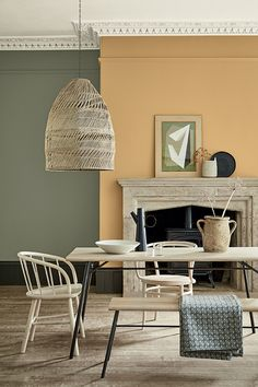 Mortlake yellow by Little Greene. A pale yellow perfect teamed with sage green or pale blue.