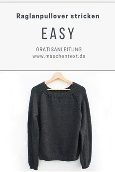 Knit sweater: free instructions for the basic model EASY. This raglan sweater works well even for beginners. // knitting instructions // knitting // knitting pullover instructions // knitting raglan f Sweater Knitting Patterns, Knit Patterns, Free Knitting, Sewing Patterns, Raglan Pullover, Dou Dou, Diy Mode, Knitting For Beginners, Knitted Blankets