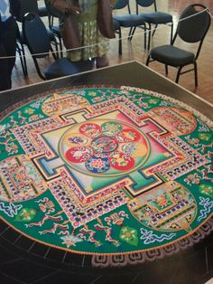 I was privileged to witness this scared work @ the Nelson Art gallery in KCMO. Tibetan Mandala, Tibetan Art, Tibetan Buddhism, Buddhist Art, Sand Painting, Sand Art, Mandala Design, Mandala Art, Vajrayana Buddhism