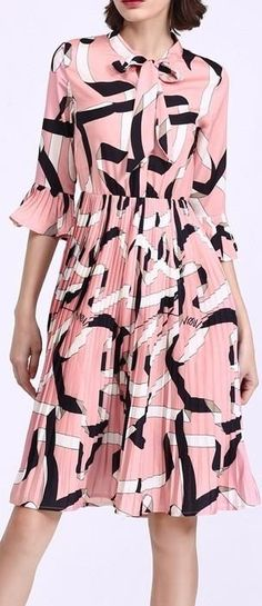 Printed Pleated Silk Dress-Pink/Black/White