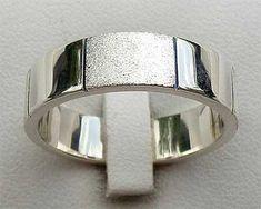 Two Tone Sterling Silver Wedding Ring Wedding Ring For Him, Cool Wedding Rings, Silver Chain For Men, Silver Man, Sterling Silver Wedding Rings, Jewelry Rings, Rings For Men, Jewelry Making, British