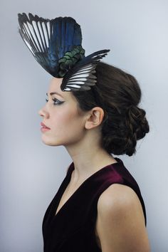 Magpie Wing Feather Fascinator Black Blue and by FloraAndTheFox