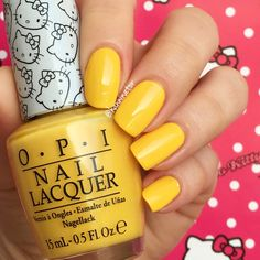 My twin Mimmy - OPI Hello Kitty collection Yellow Nail Polish, Summer Nail Polish, Nail Polish Art, Yellow Nails, Nail Polish Colors, Fabulous Nails, Perfect Nails, French Nails, How To Do Nails