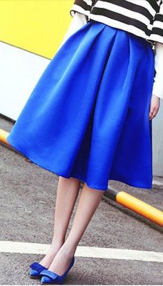 Cobalt midi skirt - beautiful color! It's my favorite color to see on myself.