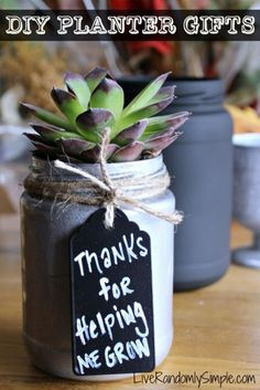 DIY Gifts for Mom - DIY Succulent Mason Jar Gift - Best Craft Projects and Gift Ideas You Can Make for Your Mother - Last Minute Presents for Birthday and Christmas - Creative Photo Projects, Bath Ideas, Gift Baskets and Thoughtful Things to Give Mothers and Moms http://diyjoy.com/diy-gifts-for-mom