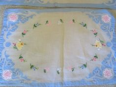 SOLD  Vintage Embroidered Linen Placemats & by JewelsOfHighElegance, $27.50