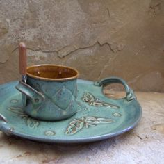 Waterfall Blue and Amber Handmade Stoneware by montezumamudd, $50.00