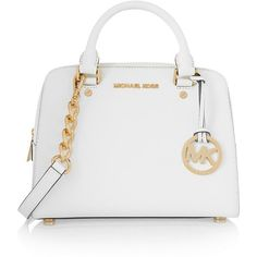 MICHAEL Michael Kors Textured-leather tote (3.165.715 IDR) ❤ liked on Polyvore featuring bags, handbags, tote bags, white, white tote bag, zip tote bag, michael michael kors purse, white tote and white purse